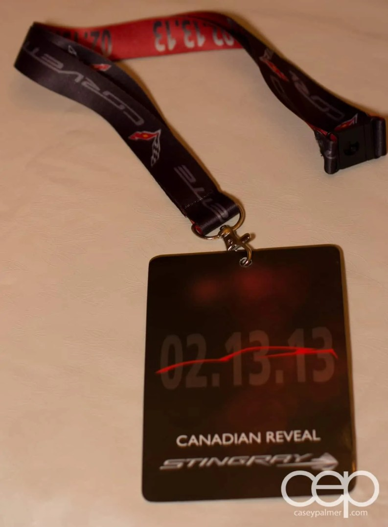 The lanyard I received at the 2014 Corvette Stingray Canada Reveal