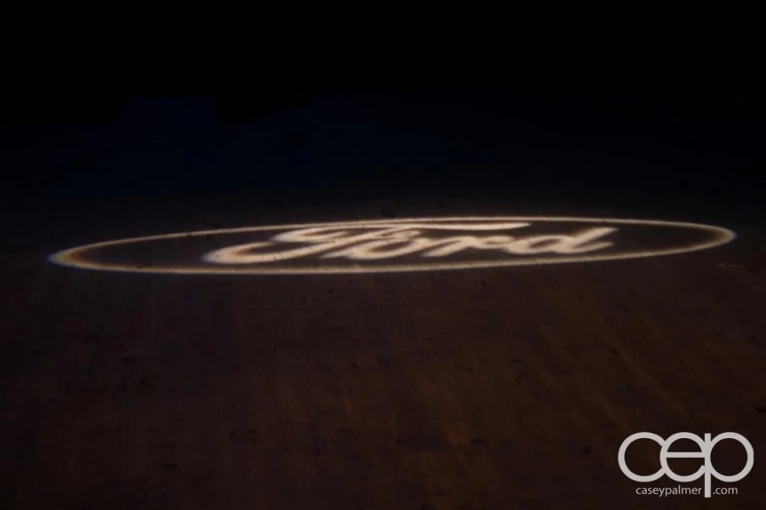 The Ford Logo in lights on the floor