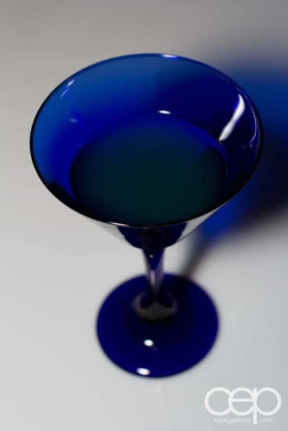 A shot of the Blue Grand Martini that Ford freely offered