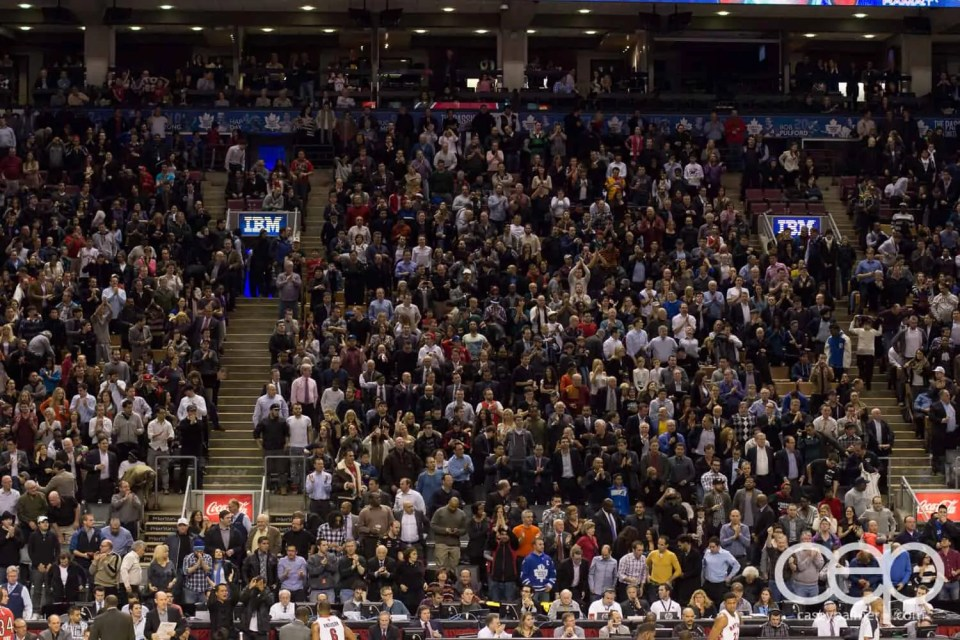 The crowd was going CRAZY as the Raps tried to finish the game off on a good note...
