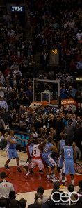 The winning basket at the Toronto Raptors vs. The Denver Nuggets game on Feb 12