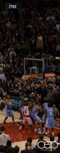 The winning basket at the Toronto Raptors vs. The Denver Nuggets game on Feb 12
