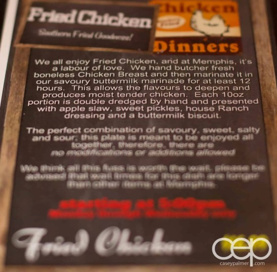 The description on fried chicken in the Memphis Fire Barbecue Company menu in Winona, ON