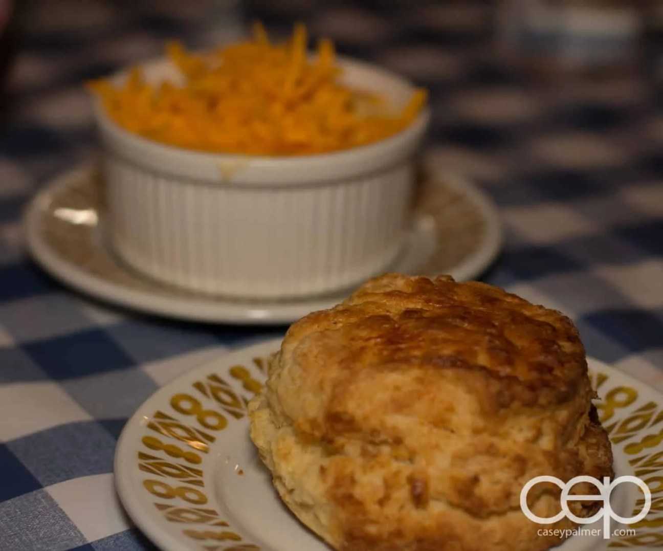 A buttermilk biscuit and mac n' cheese at the Memphis Fire Barbecue Company in Winona, ON