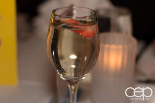 Some fraise champagne at Mysteriously Yours... Mystery Dinner Theatre