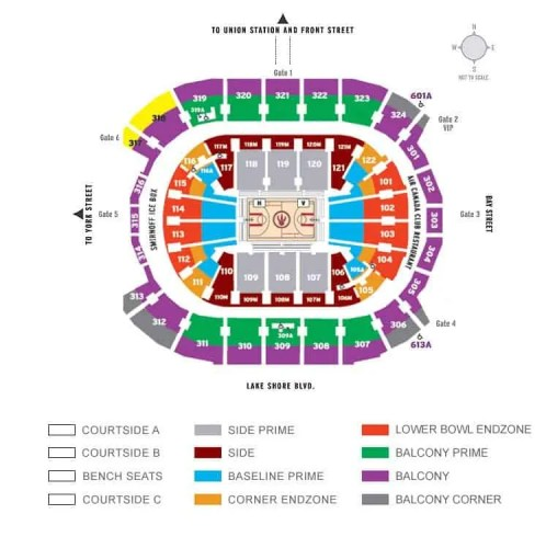 Air Canada Centre Seating Chart for a Toronto Raptors Game