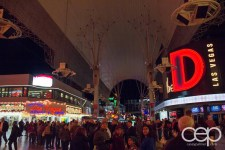 The crowd on Fremont Street in old Las Vegas