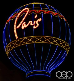 The neon hot-air balloon sign for the Paris Hotel & Casino in Las Vegas