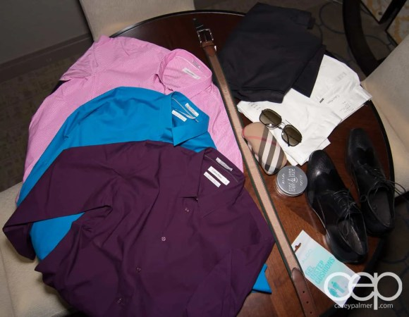 The clothes I bought from my Las Vegas trip: Dress shirts, sunglasses, belts, etc.