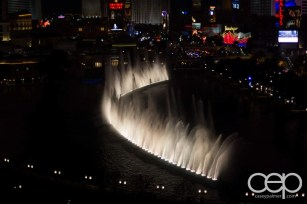 A shot of the dancing fountains at The Bellagio in Las Vegas, NV.