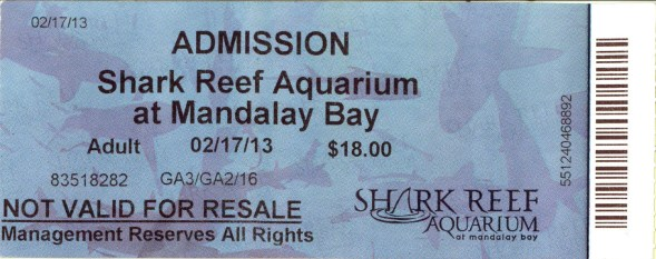 A ticket to the Shark Reef Aquarium at Mandalay Bay