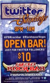 Flyer for the PBR Rock Bar's Twitter Sundays in Las Vegas