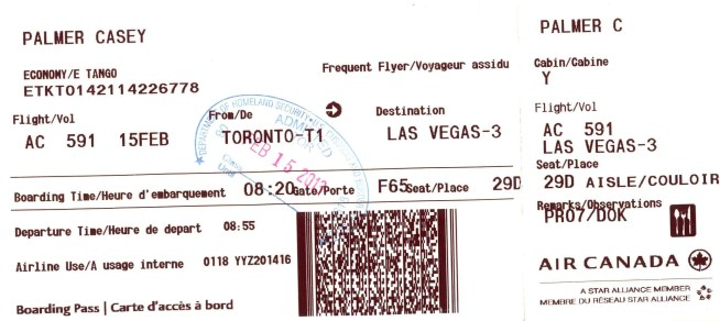 The boarding pass for my flight from Toronto to Las Vegas