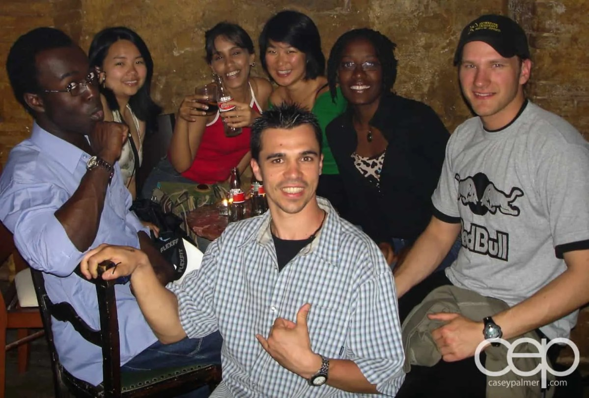 A group shot of friends from the Sea Point Hostel in Barcelona, Spain