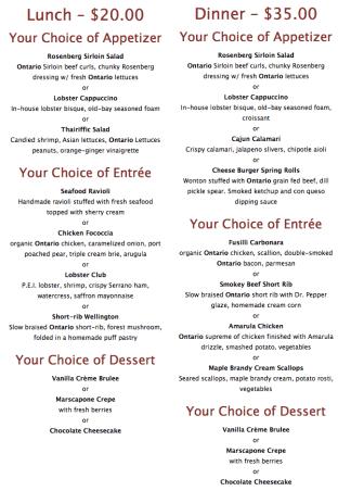 The Taste of Burlington menu for The Martini House