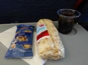 Air Canada breakfast (L-R): Peanuts, Chicken salad wrap, Coca-cola