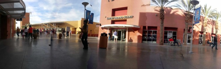 Some of the buildings in the Las Vegas Premium Outlets North