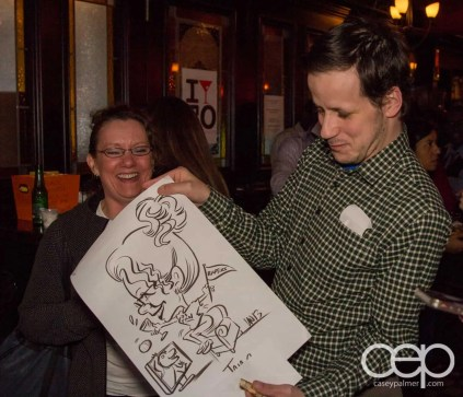 After Work Drinks Toronto 8 — #AWDTO — Jon Gauthier and Janet with Janet's caricature