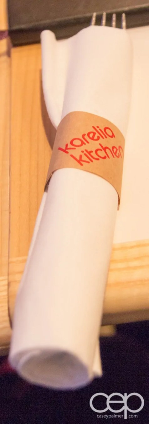 A napkin with a Karelia Kitchen napkinroll