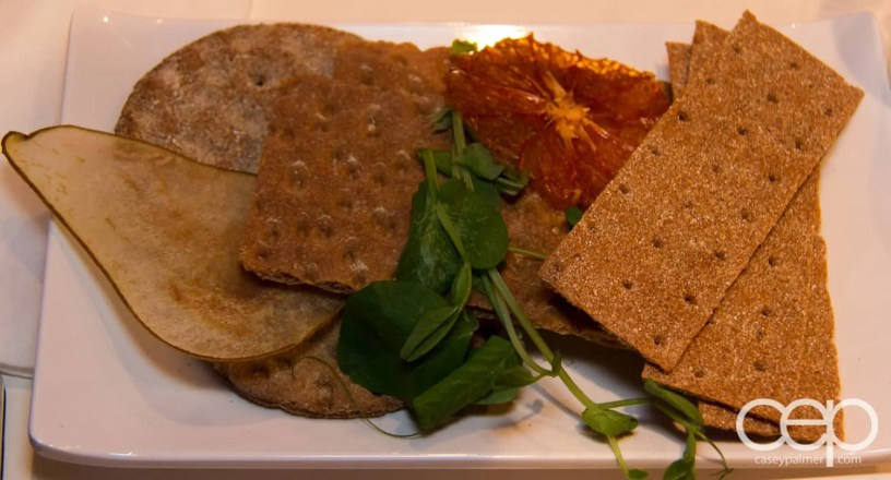 Wasa flatbreads at Karelia Kitchen including pear chips and dried blood orange.