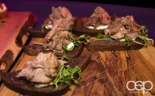 Roast beef on pumpernickel bread at the Women's Brain Health Initiative launch party.