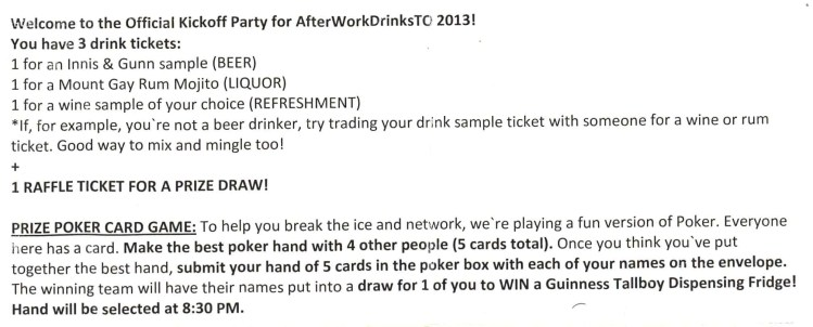 After Work Drinks Toronto 8 — #AWDTO — AWDTO Rules and Regulations