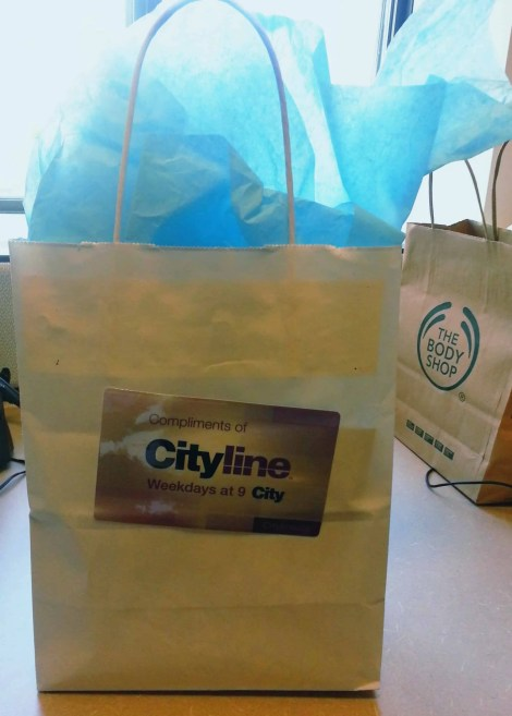 The Swag Bag we got for being part of the CityLine audience on April 1, 2013