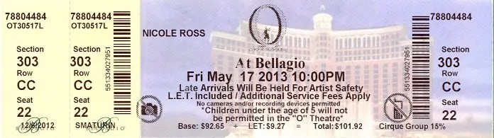 "BiSC and Las Vegas 2013 — The Bellagio — Cirque du Soleil ""O"" — Ticket"