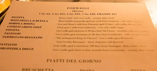 BiSC and Las Vegas 2013 — The Shoppes at the Palazzo — Otto Enoteca — Cheese Menu