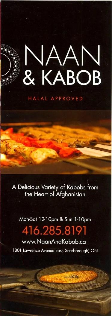 Scarborough Dishcrawl II — Naan & Kabob — Takeout Menu