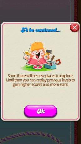 Candy Crush Saga Victory Message