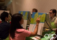 #BuytopiaPaintNite — Paint Nite Toronto — Banu — Jessica from Dinosaurus Rex painting away