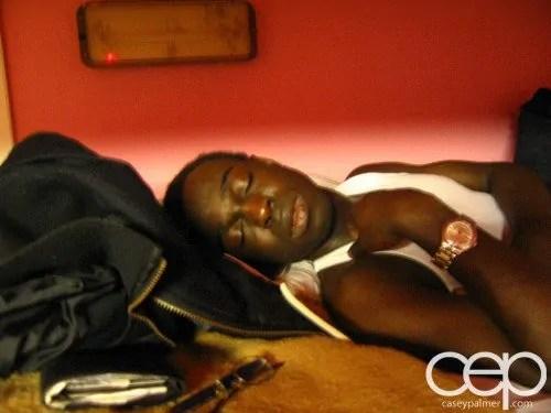 Casey Sleeping on the EuroTrip 2005