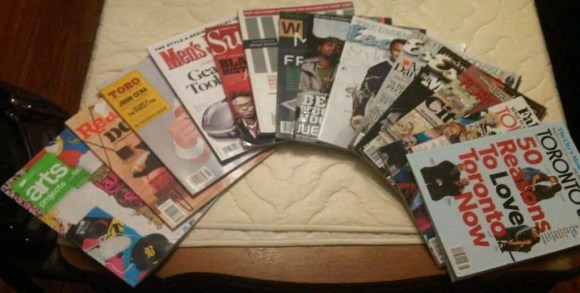 A spread of a number of magazines I'm reading, or at least HOPING to read!