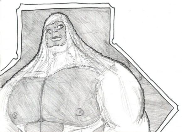 The third white gorilla sketch, even more refined, standing still with muscle tone to show how powerful he is.
