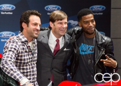 #FordNAIAS 2014 — Day 2 — Cobo Hall — Behind the Blue Oval — Need for Speed Screening — Scott Waugh, James D. Farley, Jr., Executive Vice President of Global Marketing, Sales and Service and Lincoln, Ford Motor Company, and Scott Mescudi (aka Kid Cudi)