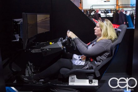 #FordNAIAS 2014 — Day 2 — Cobo Hall — North American International Auto Show — Mazda — Amanda Blain on the Simulator