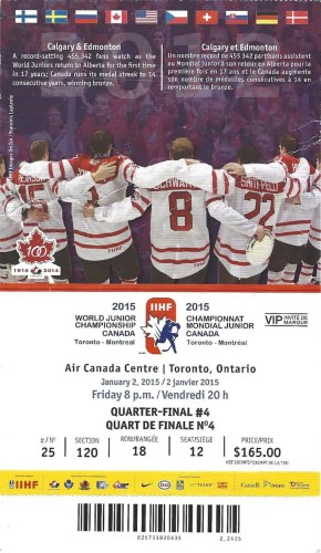 2015 IIHF World Junior Championship—Quarter Final 4 Ticket