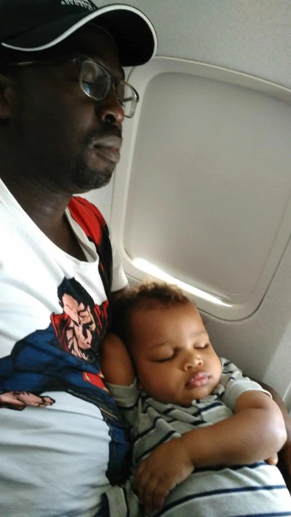 The Life and Times of Casey Palmer—Who Will Save Your Soul—Casey and Kid Sleeping on the Plane
