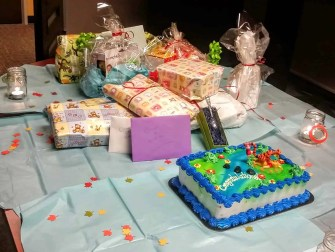 The Week That Was... October 18th - 24th — Sarah and Casey's Second Baby Shower — The Wrapped Presents and Cake on the Table