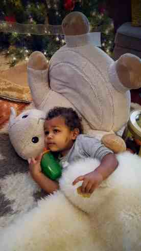 A Case Cringle Christmas, Day 2 — My Toddler, Me and a Little Cloud b! — Little Man Chilling in the Living Room with his Cuddly Comfeez Sleep Sheep Chair