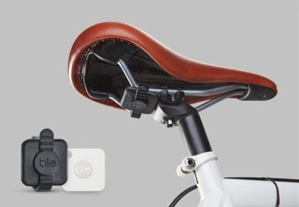 Tile Mate — Helping You Keep Your Stuff BY YOUR SIDE. — Tile Mate and a Zip Strap to Keep it on Your Bike