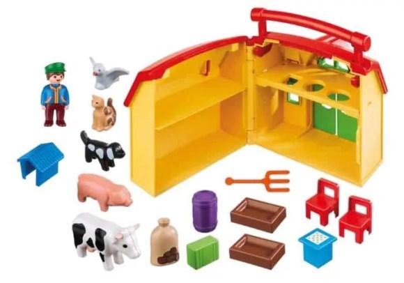 Fun's a Sure Bet with PLAYMOBIL Take Along Sets! — PLAYMOBIL 1.2.3 My Take Along Farm — Contents
