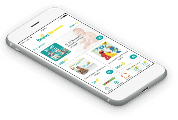 Earn Points with Less Taps — The BRAND NEW Pampers Rewards App! — App on a Phone