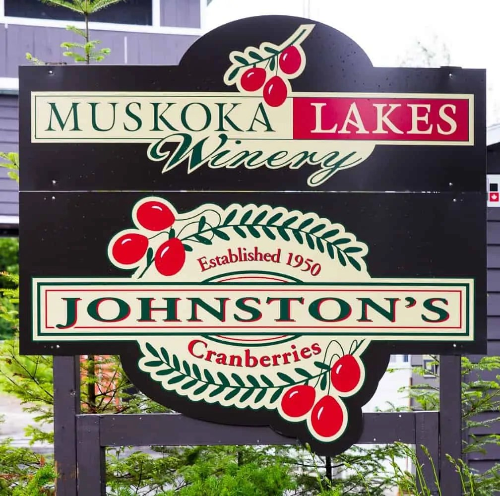 It's a Ford. #FordSummer. (Checking out the Ford Canada SUV Line in Muskoka!) — Johnston's Cranberry Marsh and Muskoka Lakes Winery — Sign at the Front