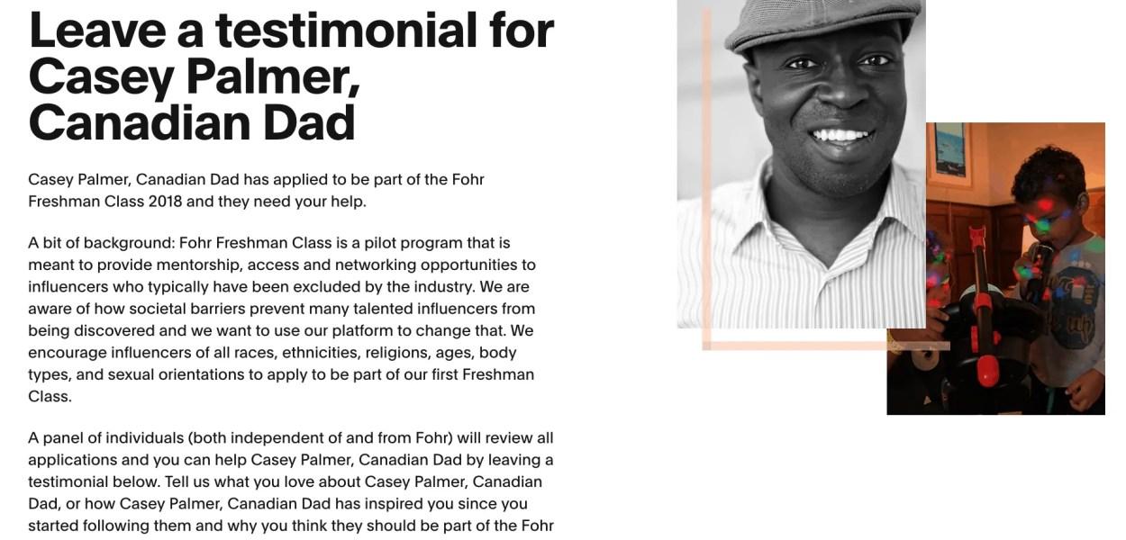 Casey Palmer, Canadian Dad Fohr Freshman Class 2018 — Call for Testimonials