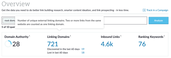 CaseyPalmer.com's Moz Domain Authority ranking of 28 on February 21, 2021