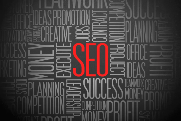 A word cloud about SEO and many of the things associated with it. Money. Execute. Creative. Success.