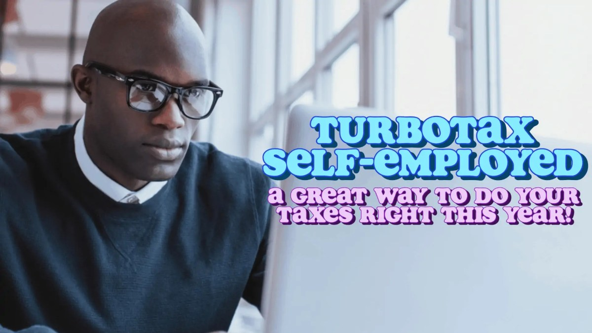 An image of a Black man using a laptop, using TurboTax Self-Employed software to do his taxes.