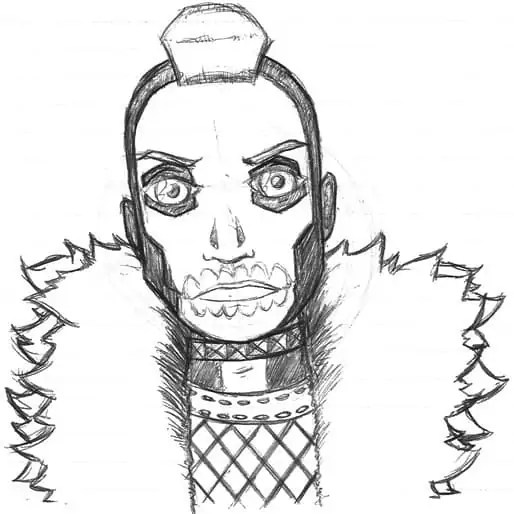 A sketch of Skullman, a biker-type character I designed for an unspecified dystopian future.
